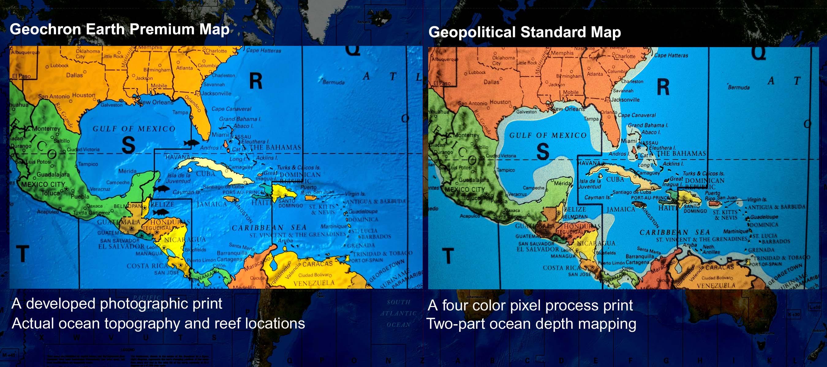 Geochron Earth Limited Edition Of Geochron - Map showing ocean depths